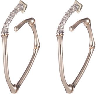 Alexis Bittar Crystal Encrusted Bamboo Hoop Earrings
