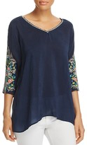 Johnny Was Collection Nina Embroidered Sleeve Blouse