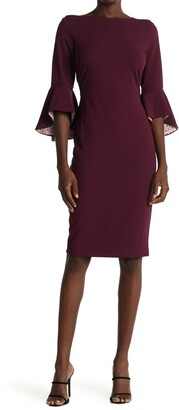 Gabby Skye Bell Sleeve Scuba Crepe Midi Dress