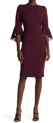 Gabby Skye Bell Sleeve Scuba Crepe Midi Dress