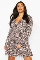 boohoo Plus Dark Floral Corset Detail Ruffle Mini Dress