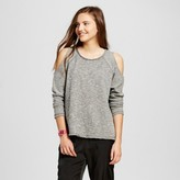 Mossimo Women's Cold Shoulder Crew Sweatshirt Black