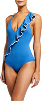 Marysia Swim Palisades Ruffle Maillot One-Piece Swimsuit with Piping