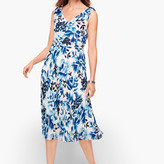 Talbots Watercolor Blooms Pleated Fit & Flare Dress