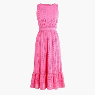 J.Crew Eyelet-embroidered tiered midi dress