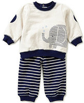 Little Me Baby Boys 3-12 Months Elephant Sweatshirt and Striped Pants Set