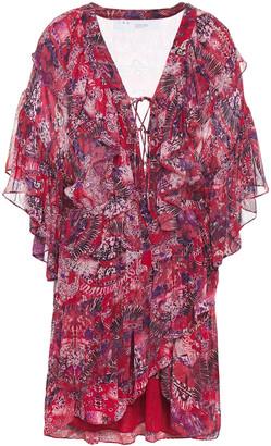 IRO Lace-up Ruffled Printed Georgette Mini Dress