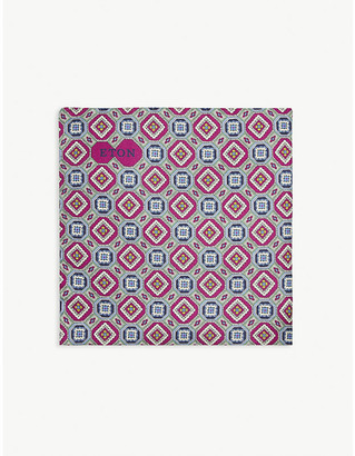 Eton Geometric floral print silk pocket square