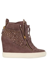 Giuseppe Zanotti 90mm Swarovski & Suede High Top Sneakers