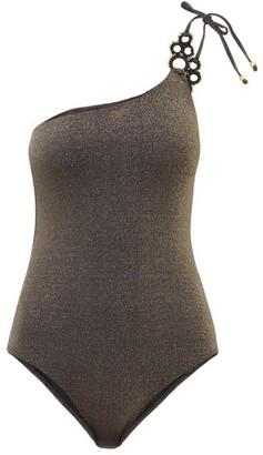 My Beachy Side - Haltekom Metallic One-shoulder Swimsuit - Black