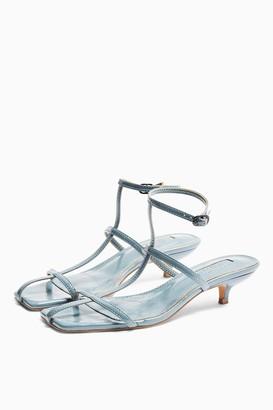 Topshop Womens Nika Blue Cage Mini Heels - Blue