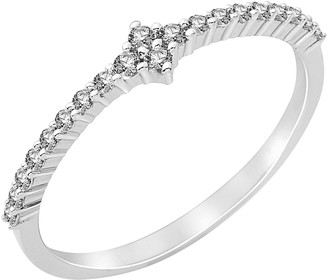 Miore 925 Sterling Silver Cubic Zirconia Engagement Ring with Cubic Zirconia Shoulders MPS060R- Size N