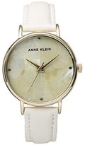 Anne Klein Women's Quartz Metal and Leather Dress Watch, Color:White (Model: AK/2790CMWT)