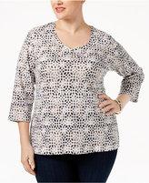 Karen Scott Plus Size Printed V-Neck Top, Only at Macy's