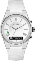 GUESS Women's Connect White Leather Strap Smart Watch 43mm C0002MC1