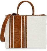 Nancy Gonzalez Medium Emma Stripe Crocodile & Raffia Tote
