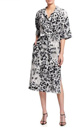 Jaguar-Print Belted Elbow-Sleeve Shirtdress