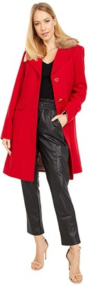 Kate Spade Wool Coat w/ Faux Fur Collar (True Red) Women's Coat