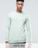 Asos TALL Lightweight Muscle Fit Sweatshirt In Blue