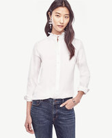 Ann Taylor Ruffle Neck Perfect Shirt