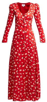 Rebecca De Ravenel Floral Print Silk Maxi Dress - Womens - Red Multi