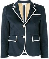 Thom Browne piped trim blazer - women - Silk/Cotton - 42