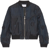 Carven Patchwork Taffeta Bomber Jacket - Midnight blue