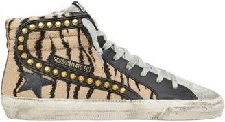 Golden Goose Slide Studded Tiger Stripe High-Top Sneakers