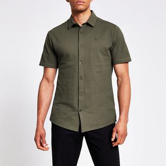 River Island Maison Riviera khaki slim fit pique shirt