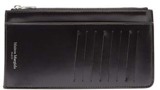 Maison Margiela Four-stitch Zipped Leather Cardholder - Mens - Black