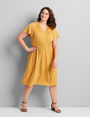 Lane Bryant Knit Kit Crossover Fit & Flare Dress