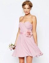 Asos WEDDING Chiffon Mini Bandeau Dress With Detachable Corsage Belt