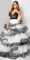 Terani Couture Lace Trim Tiered Sweetheart Ball Gown