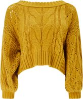 Miss Selfridge Ochre Bardot Cable Jumper