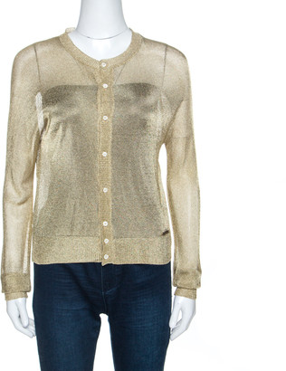 DSQUARED2 Gold Lurex Knit Sheer Cardigan XS