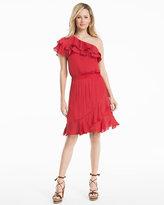 White House Black Market One-Shoulder Ruffle Dress