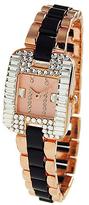 Geneva Platinum Black & Rose Gold Crystal-Bezel Bracelet Watch