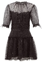 Jonathan Simkhai Sequin-embellished Lace-trimmed Mesh Mini Dress - Womens - Black
