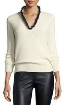 Alexander McQueen Ruffle-Trim Cashmere V-Neck Sweater, Ivory