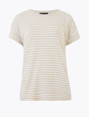 Marks and Spencer Linen Rich Striped Relaxed T-Shirt