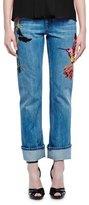 Alexander McQueen Embroidered Straight-Leg Boyfriend Jeans, Light Indigo