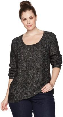 NYDJ Women's Plus Size Sequin Longsleeve Scoop Sweater