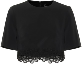 David Koma Cady and macrame crop top