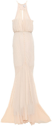 ZAC Zac Posen Beaded Georgette Halterneck Gown
