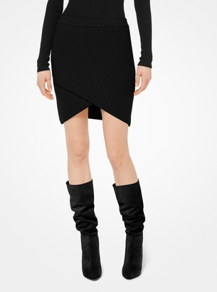Michael Kors Cashmere Ribbed Surplice Skirt
