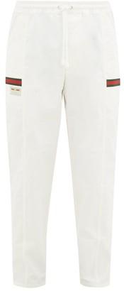 Gucci Web-stripe Cotton-canvas Track Pants - Mens - White Multi