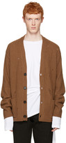 Maison Margiela Brown Oversized Distressed Cardigan