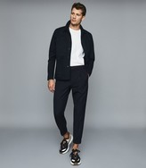 Reiss PAPE Pinstriped Straight-Leg Trousers Navy