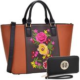 Brown Floral Tote & Wristlet