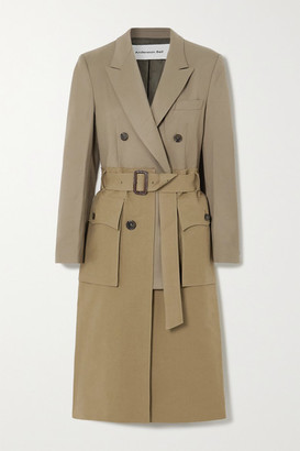 ANDERSSON BELL Belted Layered Cotton-twill And Wool-blend Trench Coat - Army green